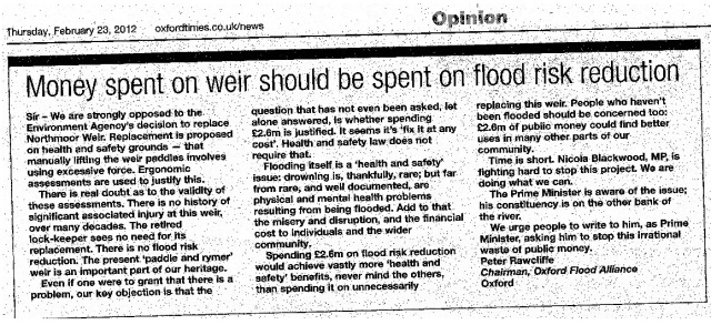letter to ox times re weir feb 23 2012