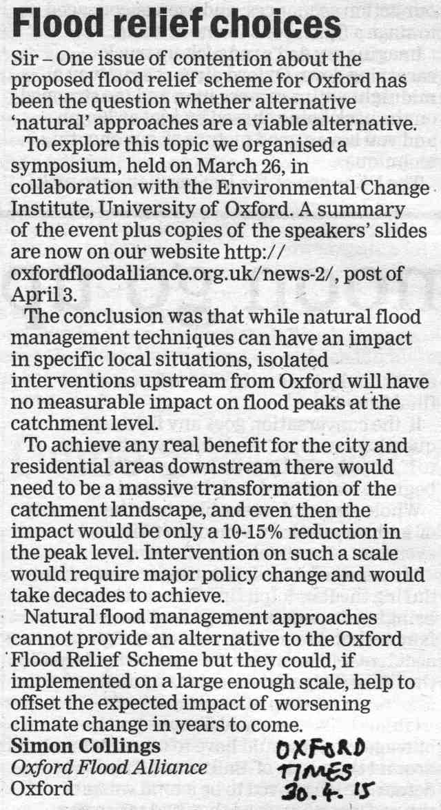 Letter to Oxford Times, 30.04.2015
